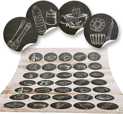 Logbuch-Verlag - Pegatina decorativa de cocina (autoadhesiva, redonda, pequeña), diseño vintage, color blanco y negro, color Negro 70 Stück: Amazon.es: Hogar