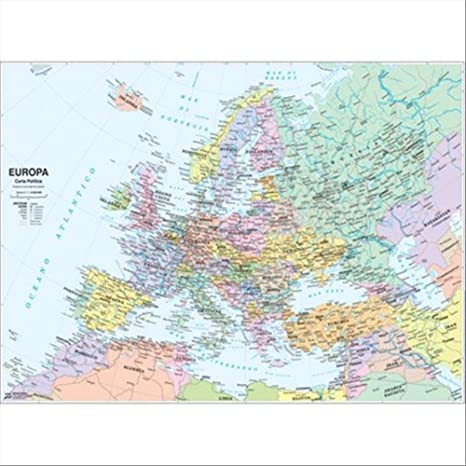 Cartina Muta Dell Europa Fisica.Carta Geografica Europa Fisico Politica Amazon It Cancelleria E