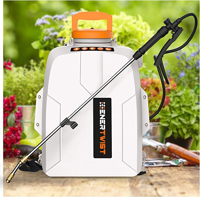 ENERTWIST 20V Battery Powered Backpack Sprayer, 3 Gal Auto Pump Sprayer w/ 2.0Ah Li-ion Battery&Charger, Telescope Wand and 3 Nozzles for Lawn and Garden Spraying, Weeding, Fertilization, Disinfecting