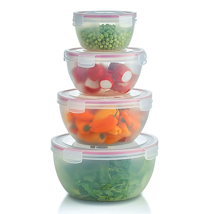 Komax Biokips Round Mixing Bowl Set | Set of 4 Nesting Bowls For Food Prep | Plastic Storage Mixing Bowls With Lids | Serving Salad Bowl With Lid | BPA-FREE, Clear, Microwave Safe Bowls W/Locking Lid