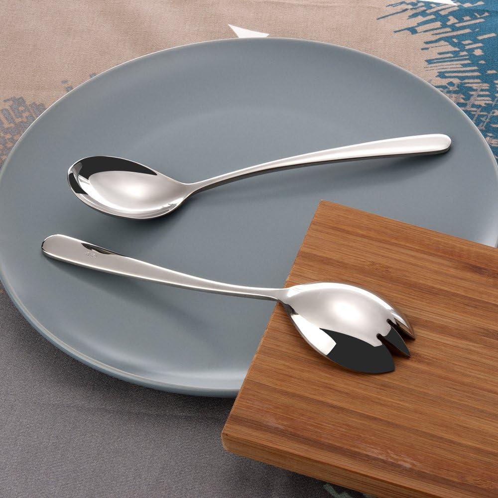 FOXAS Set de 2pcs Cuchara y Tenedor para Servir Ensalada Juego de Cubiertos Acero Inoxidable 304