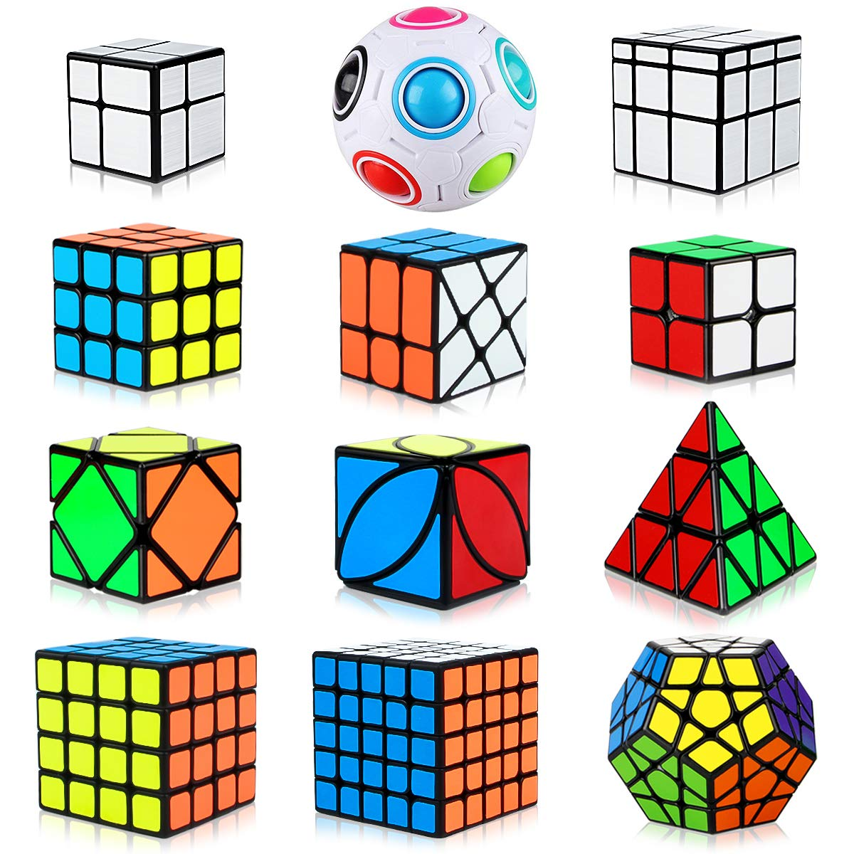 Dreampark Speed Cube Set, 12 Pack Cube Bundle Pyramid Cube 2x2 3x3 4x4 5x5 Megaminx Skew Ivy Mirror Cube Magic Rainbow Ball Smooth Sticker Puzzle Cubes Collection for Kids by Dreampark