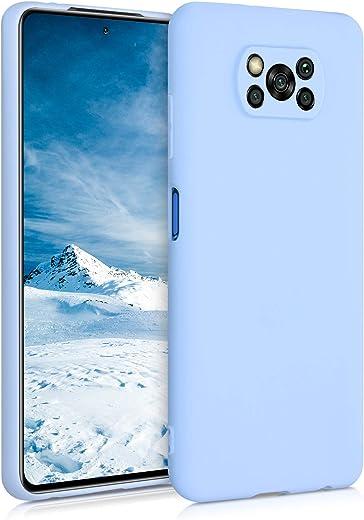 kwmobile Funda Compatible con Xiaomi Poco X3 NFC - Carcasa de TPU Silicona - Protector Trasero en Azul Claro Mate