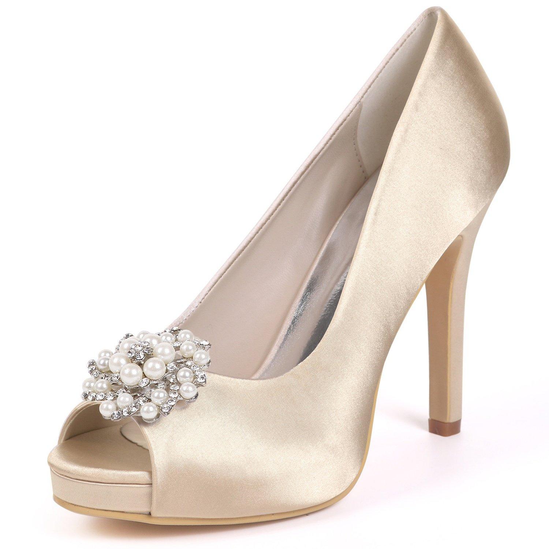 Elobaby Zapatos De Boda De Las Mujeres Party Sexy Fashion Peep Toe Tacones Altos Vestido Bombas Kitten/11cm Heel 40 EU|Champagne