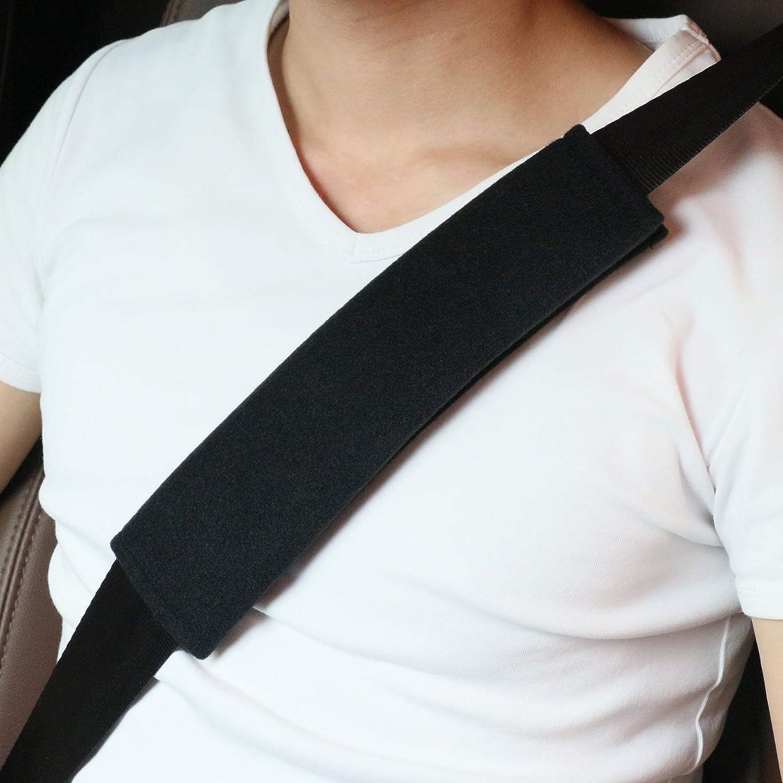 Voiture Protège Ceinture de Sécurité Coussin, 2 packs de Harnais Souple pour siège d'auto Pour Enfant et Adultes, Sans Fondu, Convient pour Ceinture de Sécurité, sac à dos, sac à Bandoulière (noir) MRCARTOOL