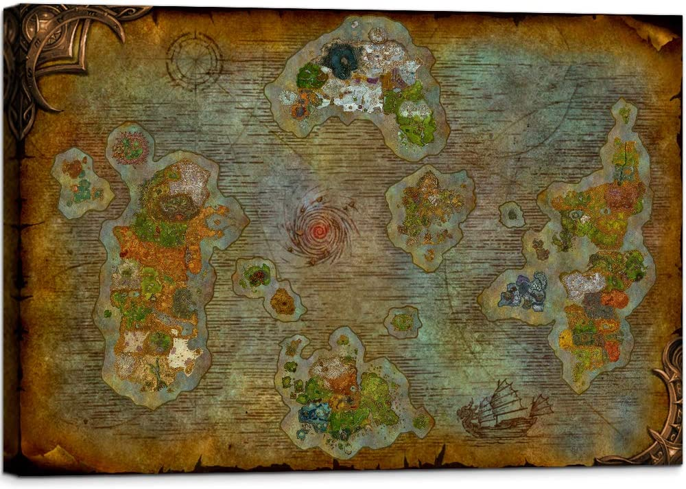 Retro World Map of Warcraft Canvas Wall Art Map Prints Artwork Decor Azeroth Game Painting Framed Ready to Hang for Game Room Boys Room (12''H x 18''W)