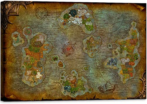 YOUHONG World Map of Warcraft Posters Wall Decor