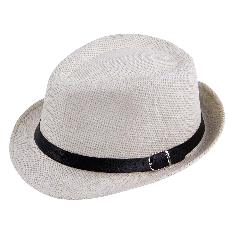 JTC Women Men Panama Hat Buckle Off-white