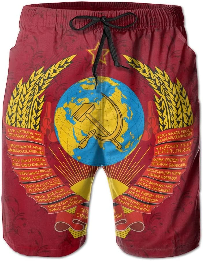Qinf New Cartoon Fashion Soviet Coat Of Arms Shorts Beach Casual Shorts For Man