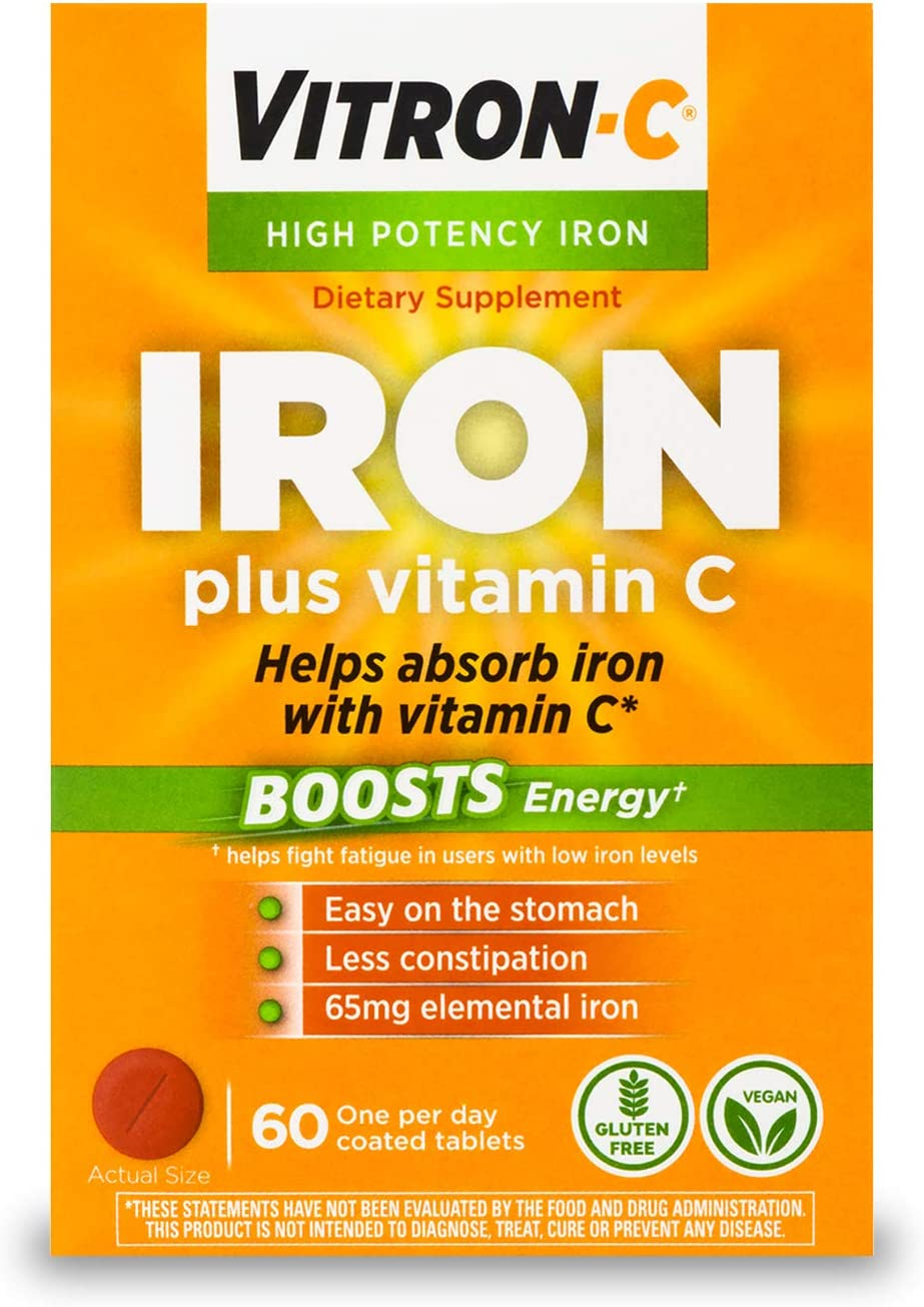Vitron-C High Potency Iron Supplement with Vitamin C, Boosts Energy, 60 Count: Health & Personal Care