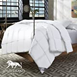 MGM Grand Hotel Official at home Platinum Collection White Natural Down Comforter - All Cotton Down Proof Fabric with 600 Fill Power Premium White Down, All Season Medium Warmth (King / Cal King)
