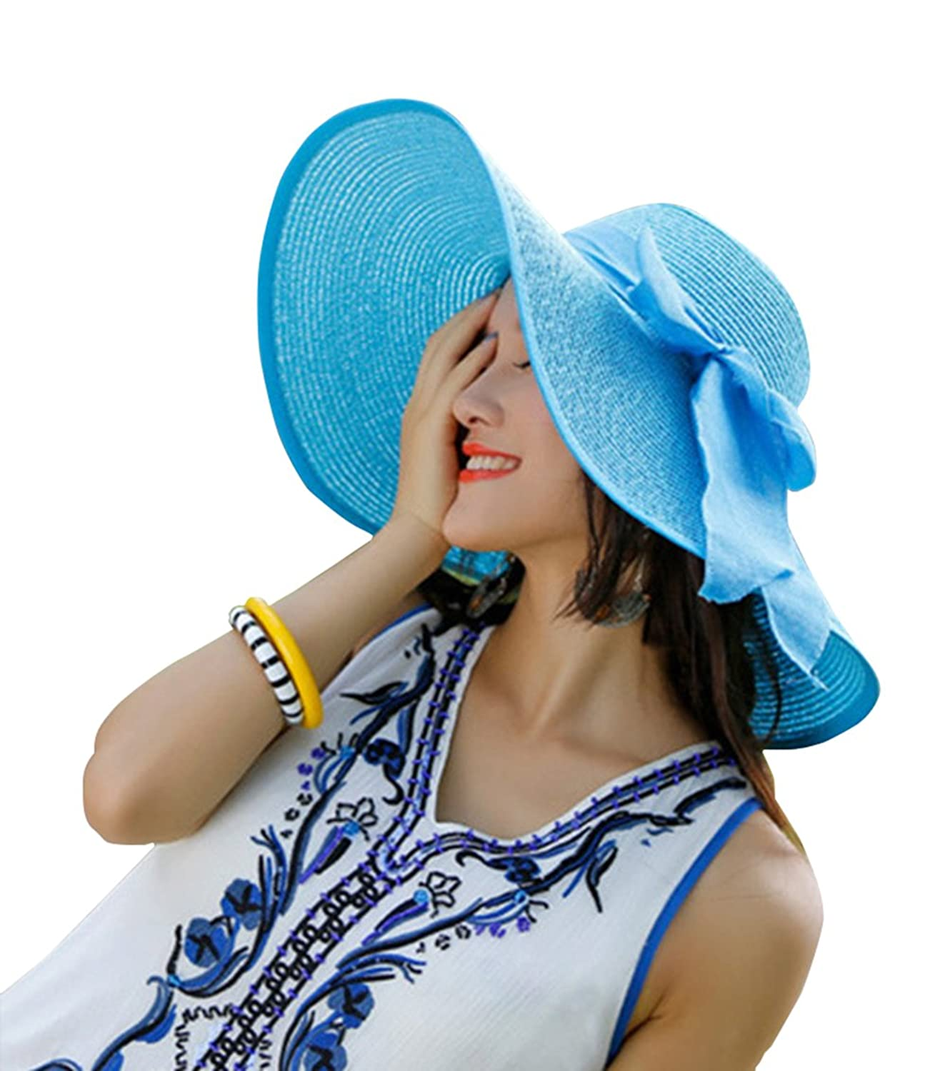 Kaisifei Bowknot Casual Straw Women Summer Hats Big Wide Brim Beach Hat  (Azure) at Amazon Women s Clothing store  5cd2f6cdf750