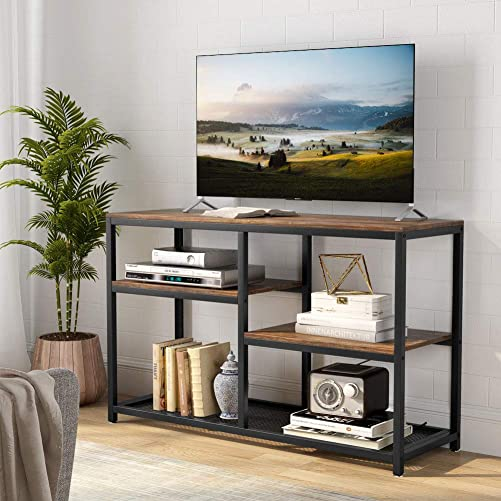 Tribesigns TV Stand, Vintage Industrial Media Stand with Net Storage Shelf, 4 ShelvesEntertainment Center Media Console Table for Living Room Bedroom