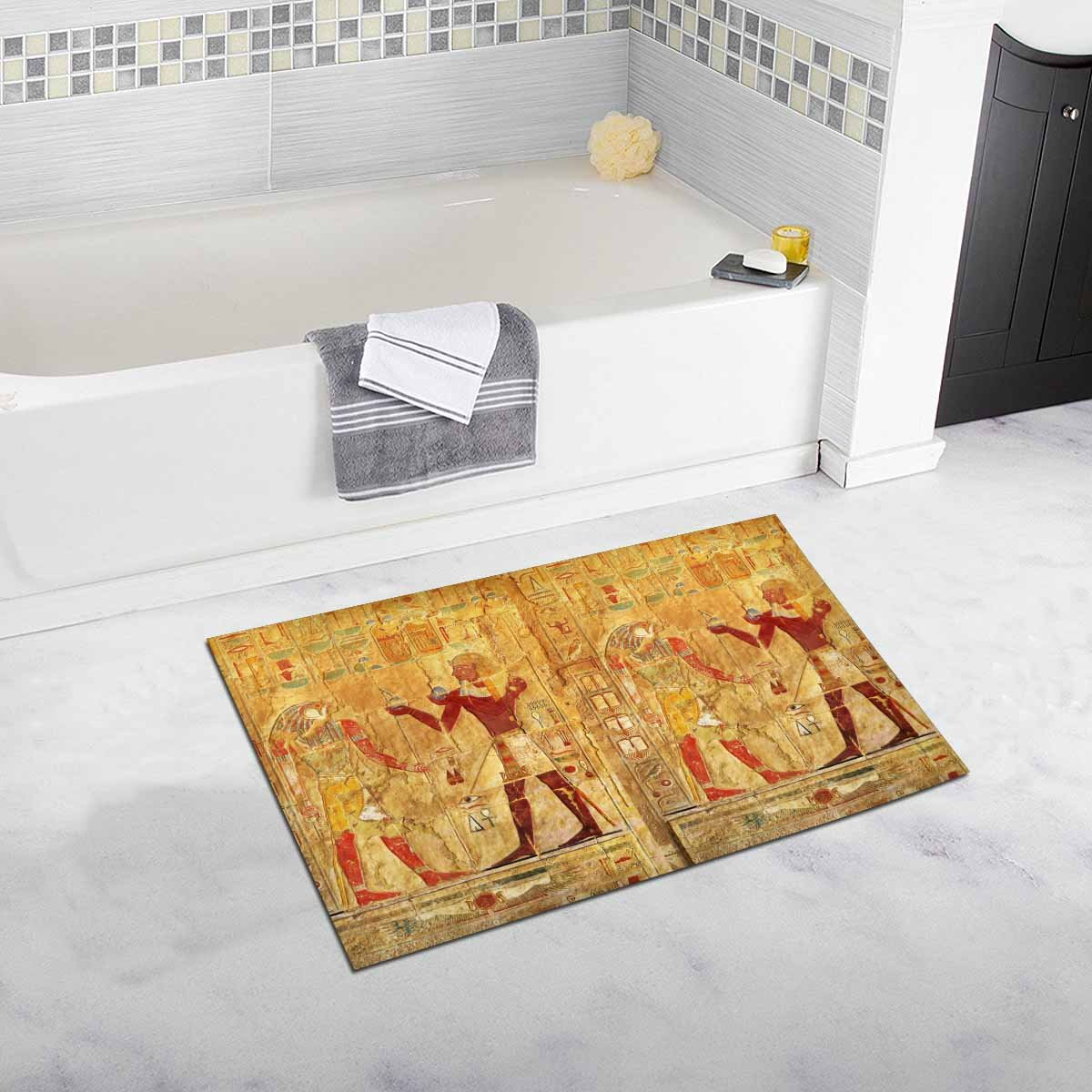 InterestPrint Ancient Egypt Color Images On Wall In Luxor Decor Non Slip Bath Rug Mat Absorbent Bathroom Floor Mat Doormat Large Size 20 x 32 Inches