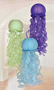 Amscan Mermaid Wishes Hanging Jelly Fish Lanterns (3 ct)