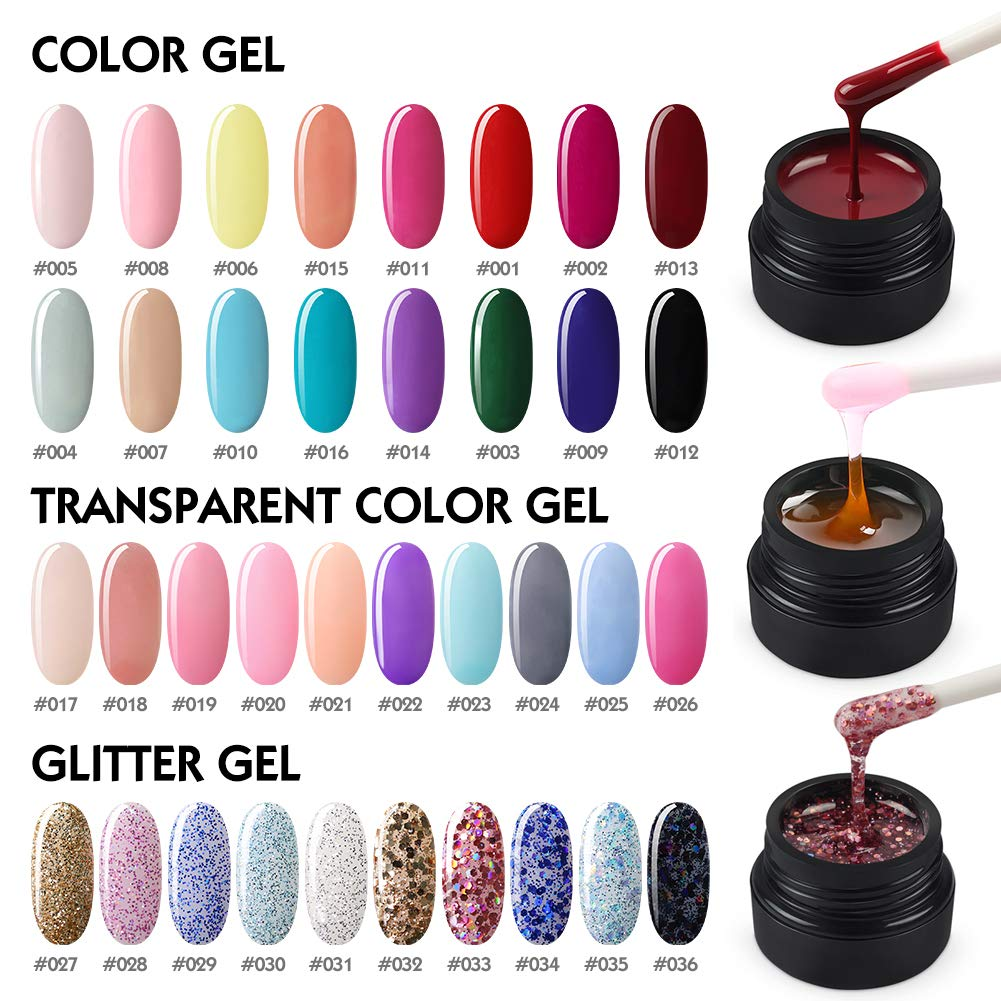 Coscelia UV Nail Gel Set 36 Colors Soak Off LED UV Gel Builder Gel Extension Gel Kit for Nail Art by COSCELIA