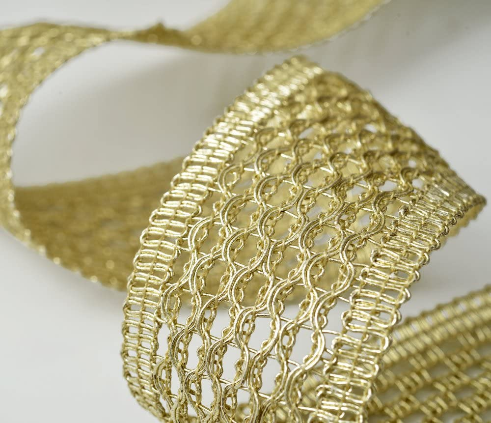 45mm Metallic Braid Trim for Bridal SMB-3015 Crafts and Sewing by 1 Yard Costume or Jewelry
