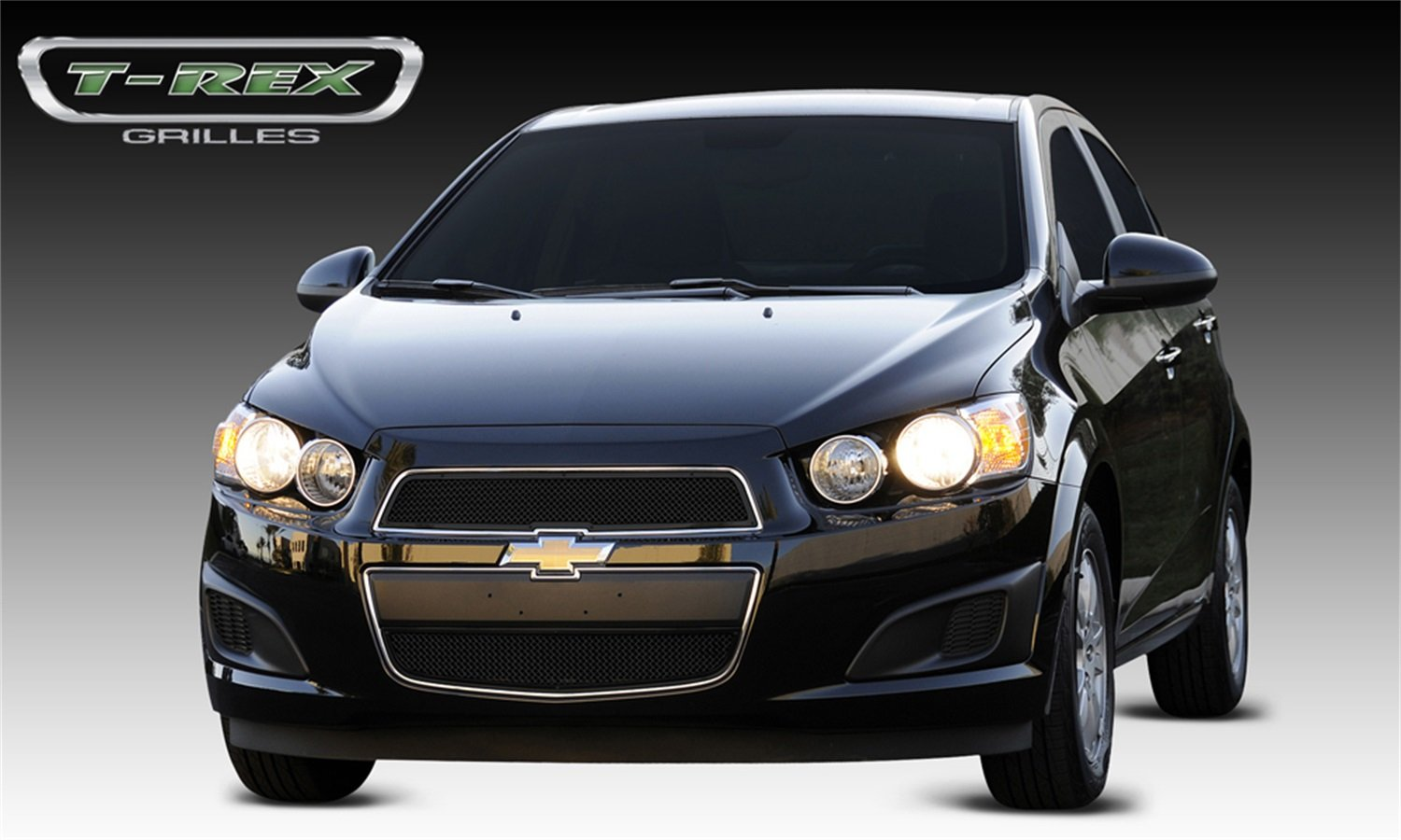 T-Rex Grilles 51132 Upper Class Small Mesh Steel Black Finish Grille Overlay for Chevrolet Sonic
