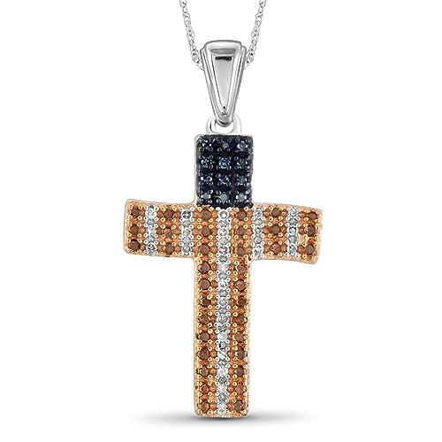 JewelExcess 1 4 CTW Multi Color Diamond Sterling Silver American Flag Cross Pendant