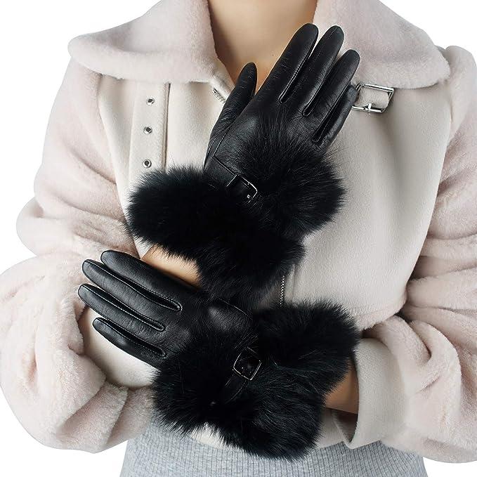 US Women Real Sheepskin Mittens Gloves Fur Wrist Trim Leather Winter Soft Glove