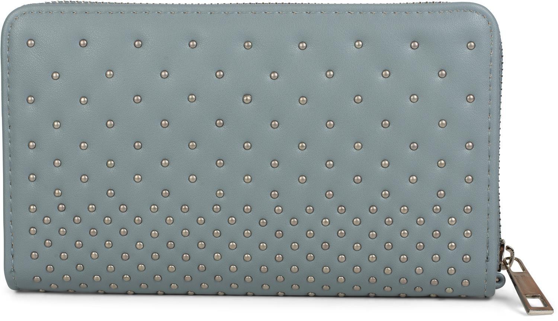 styleBREAKER portamonete con borchie, chiusura con cerniera, borchie sferiche, cinturino da polso, portafoglio, da donna 02040094, colore:Beige