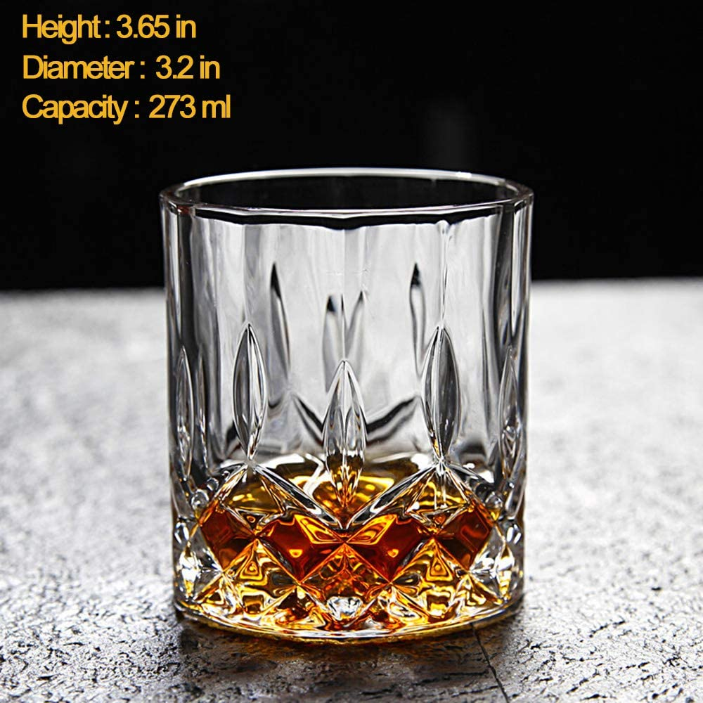 Crystal Whiskey Decanter /& Whiskey Glasses Set Nines Sun Liquor Decanter Set with 6 Old Fashioned Italian Crafted Glasses 100/% Lead Free Crystal Barware Gift Box