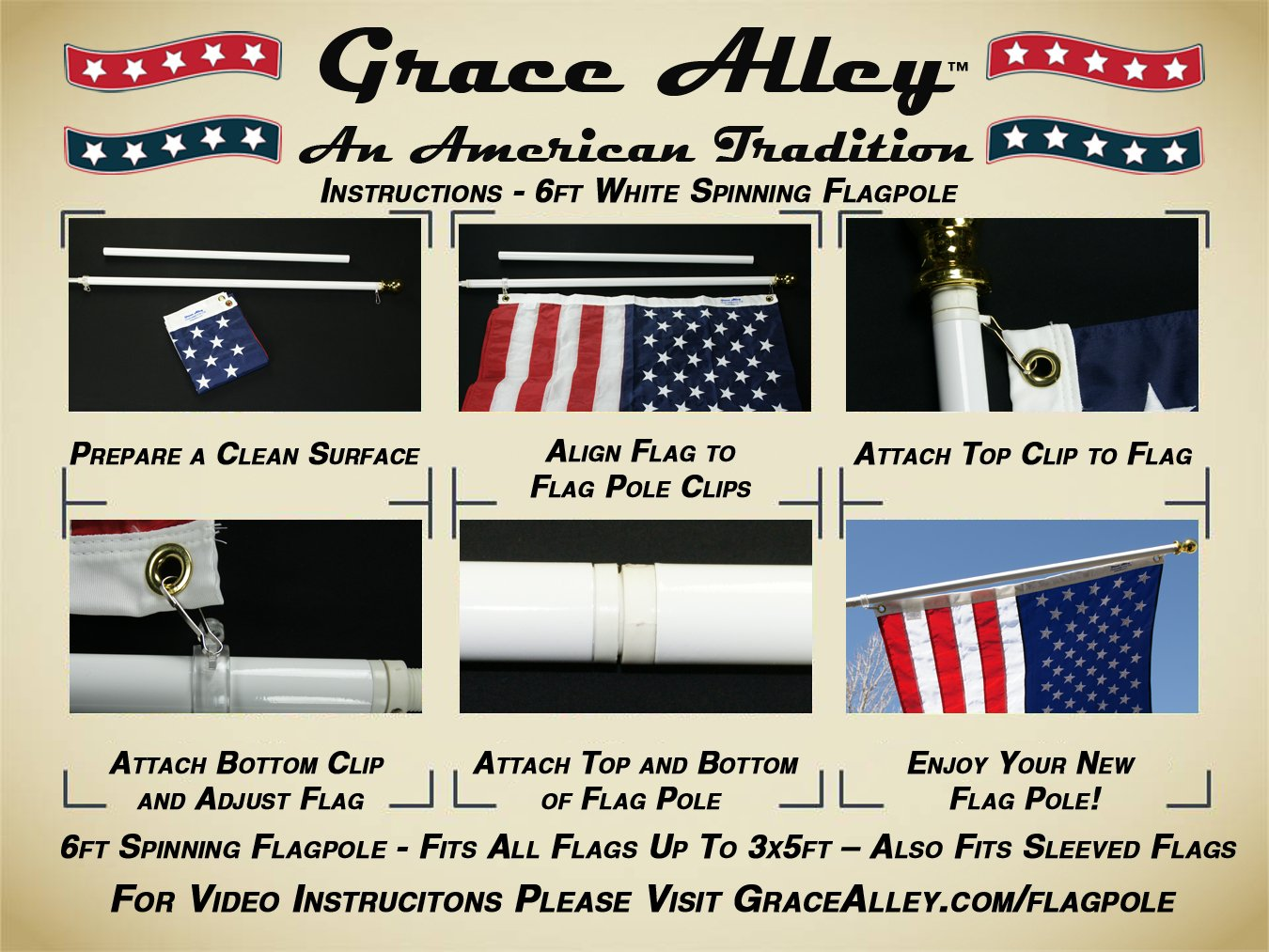 Flag Pole: Tangle Free Spinning Flagpole Residential or Commercial 6ft Flag Pole (White) by Grace Alley (Image #6)