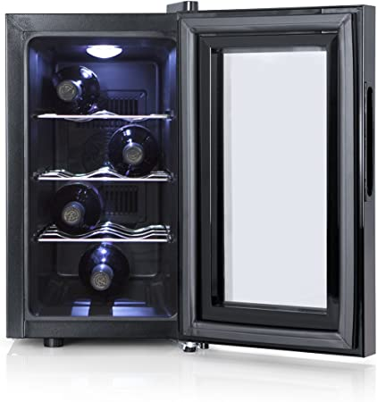 Orbegozo VT 810 - Vinoteca 8 botellas, 70 W, 25 l, LED, display digital, panel de control táctil, 3 estantes cromados extraíbles