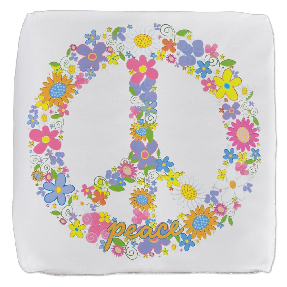 18 Inch 6-Sided Cube Ottoman Floral Peace Symbol Sign by Royal Lion