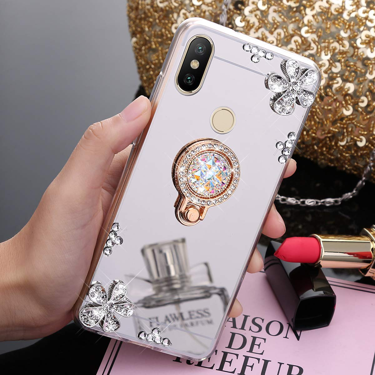 JAWSEU Funda Brillante Compatible con Xiaomi Mi Max 3 Transparente Brillo Espejo Suave Silicona TPU Gel Goma Funda con Anillo Soporte Crystal Bling Diamante Flores Ultra Delgada Carcasa,Oro Rosa