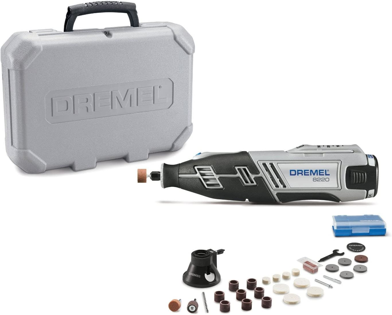 Dremel 8220-1/28 12-Volt Max Cordless Rotary Tool Kit- Engraver, Sander, and Polisher- Perfect for Cutting, Wood Carving, Engraving, Polishing, and Detail Sanding- 1 Attachment & 28 Accessories - Power Rotary Tools -