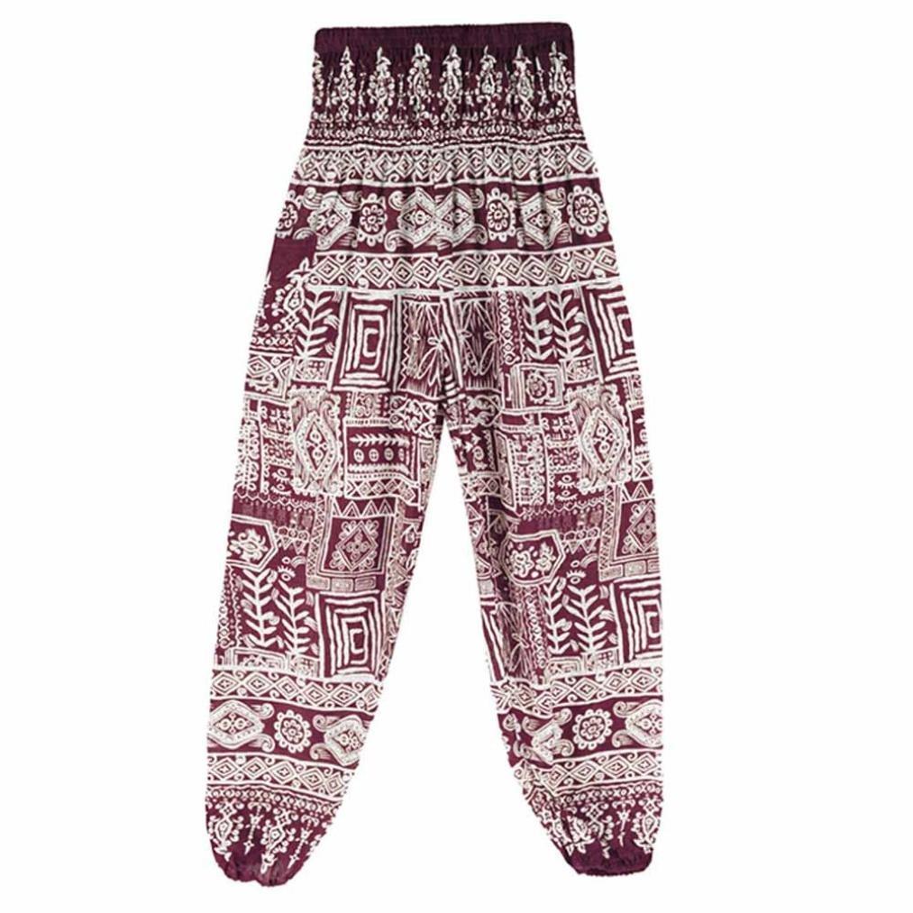 Hunzed Women Yoga Pants, { Thai Harem Trousers } { Boho Festival Yoga Leggings } Casual { Sports High Waist Yoga Pants } For Ladies (Wine, one size)