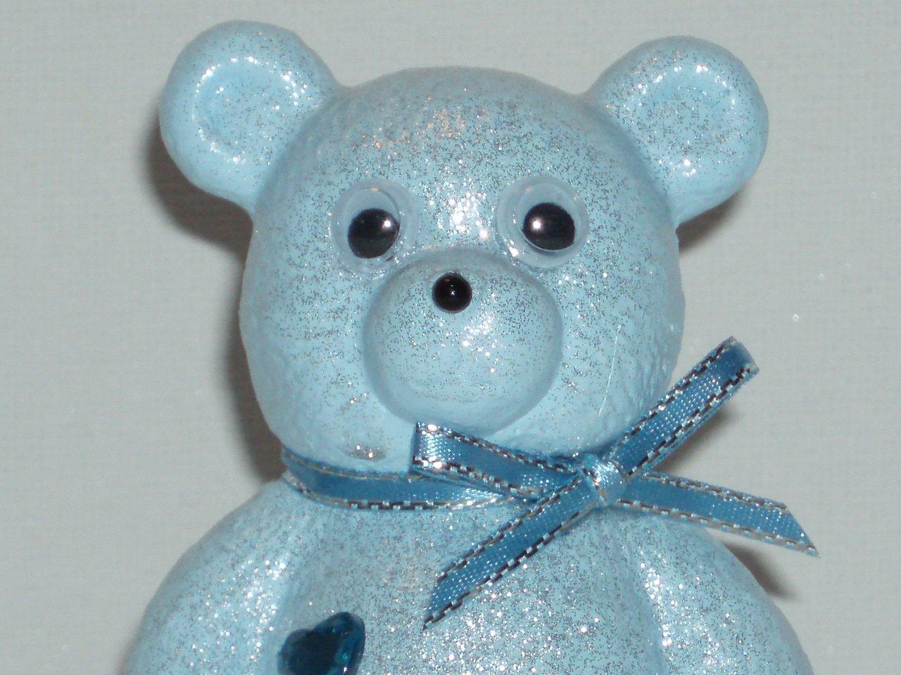 Grandad Cute Baby Blue Teddy Bear Outdoor Cemetery Grave Memorial Ornament