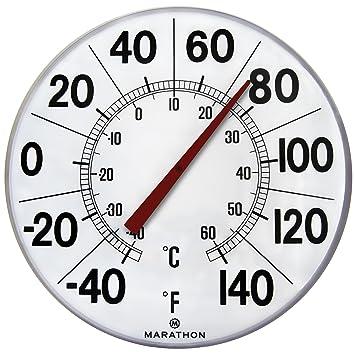 Marathon Housewares BA03002F Large 12u0026quot;Institutional Indoor / Outdoor  Thermometer   White