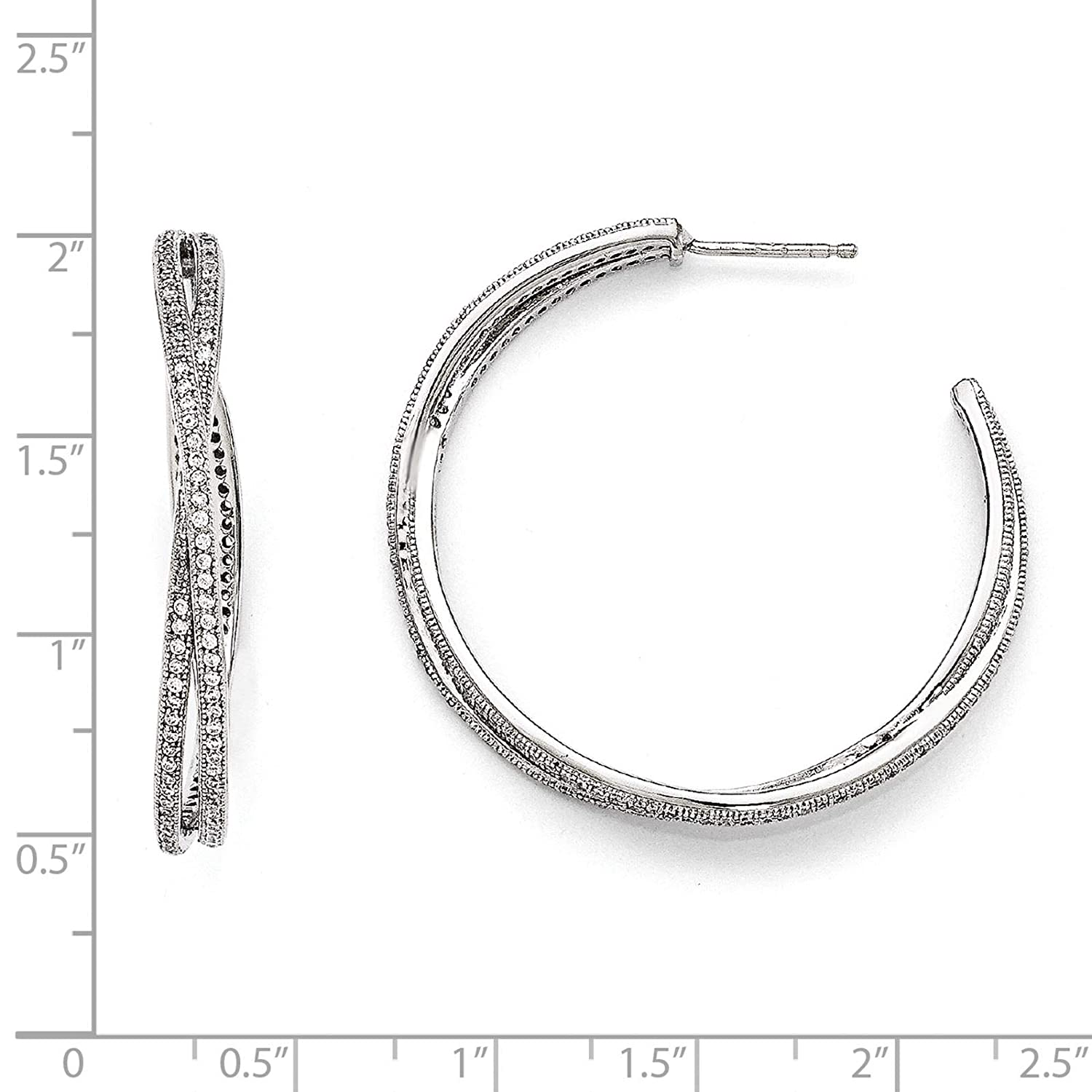 Brilliant Embers 925 Sterling Silver Rhodium-plated Polished CZ Hoop Post Earrings