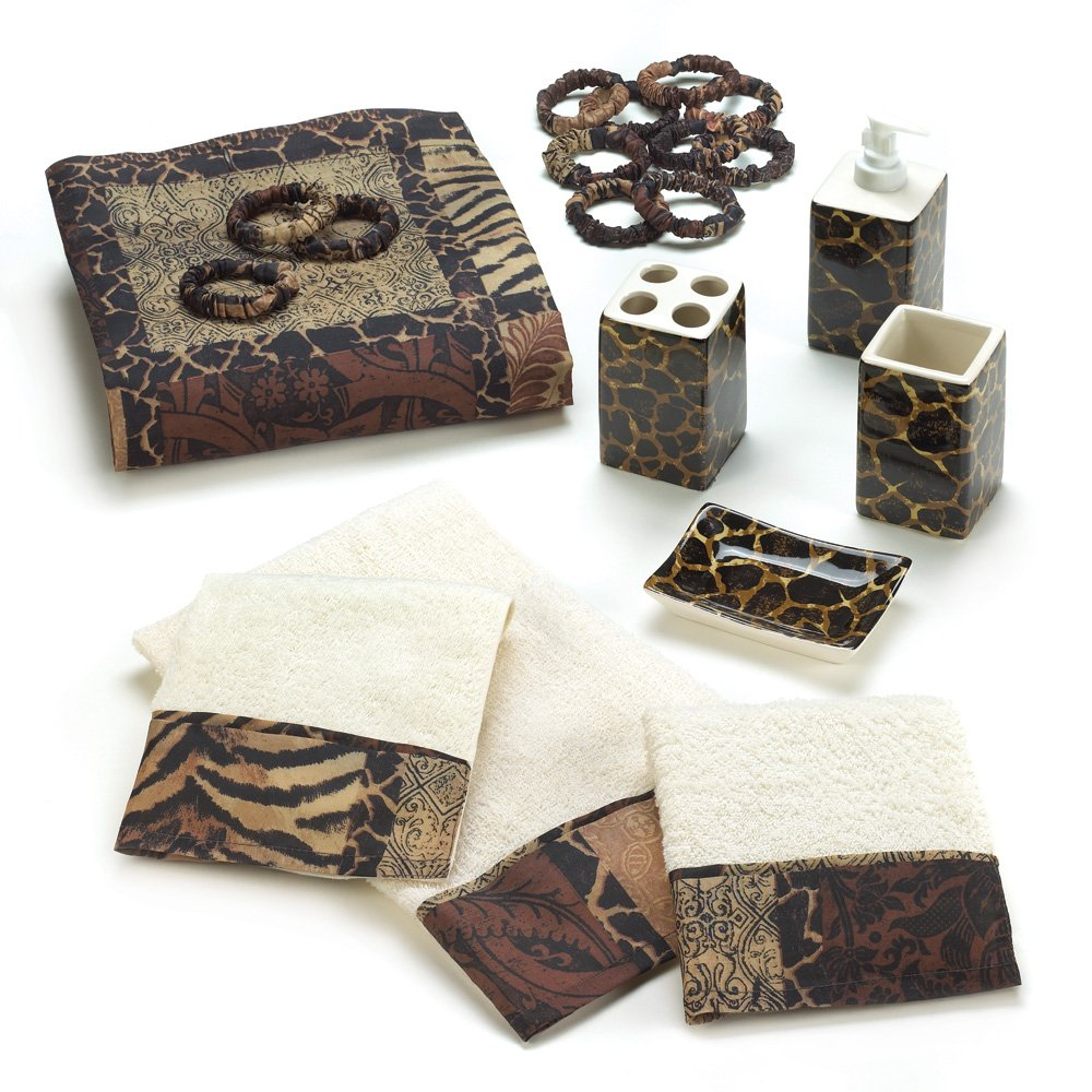 Amazon.com: Designer Jungle Print Savannah Complete Bath Decor Set: Beauty