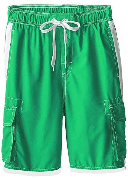 436a29ae61 Boys Quick Dry Swim Trunks Cargo Water Shorts with Mesh Lining (Green, 2T)