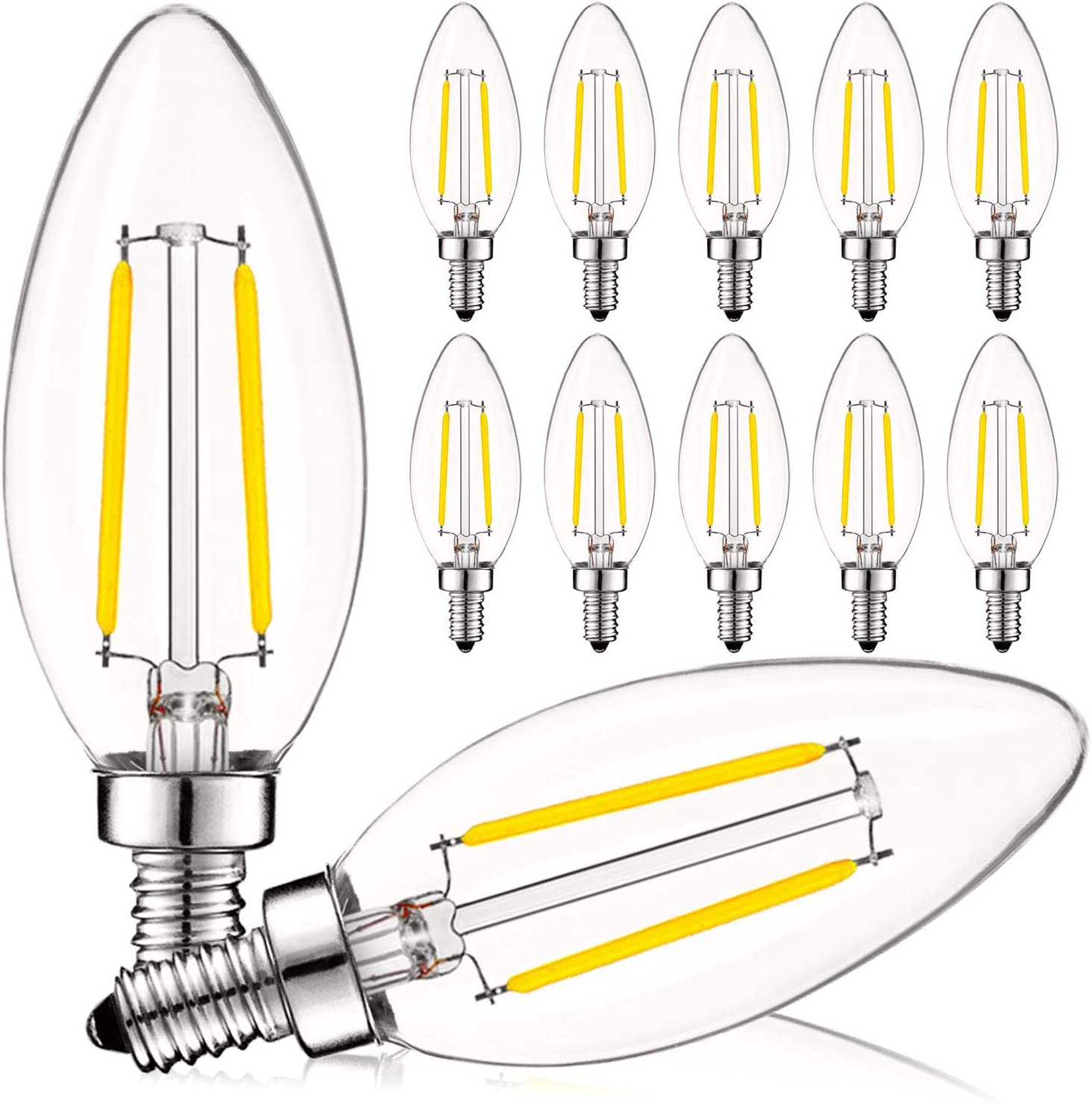 Luxrite 4w Vintage Candelabra Led Bulbs Dimmable 400 Lumens 3000k Soft White Led Chandelier Light Bulbs 40w Equivalent Clear Glass Filament Led Candle Bulb Ul Listed E12 Base 12 Pack Amazon Com