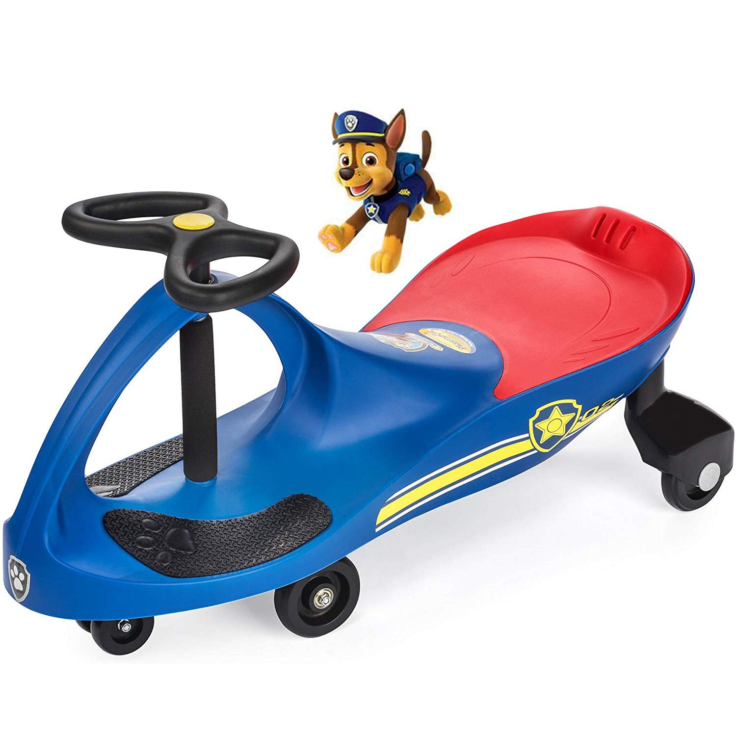 PAW Patrol - The Original PlasmaCar by PlaSmart Inc. - Chase - Blue, Ride On Toy, Ages 3 yrs and up, No batteries, gears, or pedals, Twist, turn, wiggle for endless fun