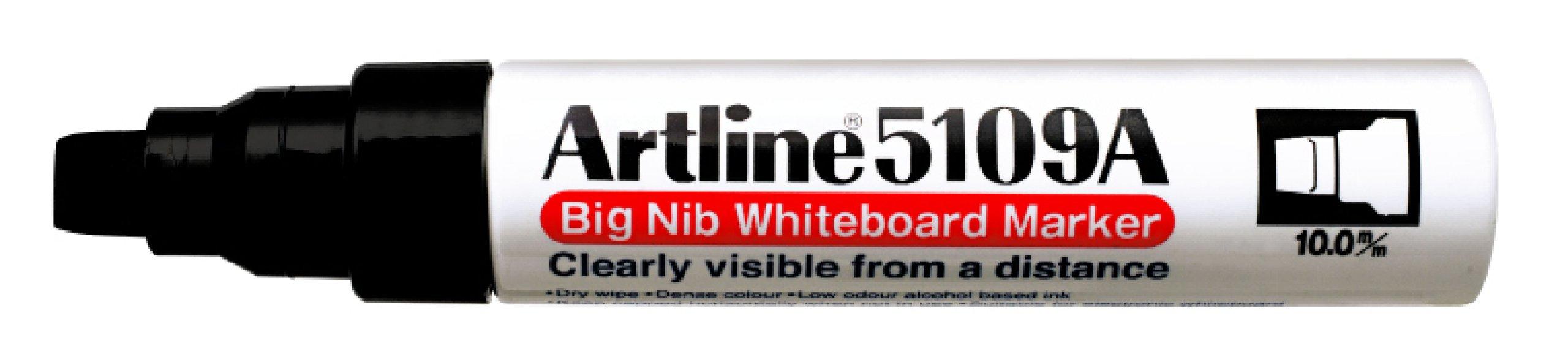 Artline 5109A Big Nib Extra Large Jumbo Dry Erase Whiteboard Markers (BLACK, Pack of 6) by Artline