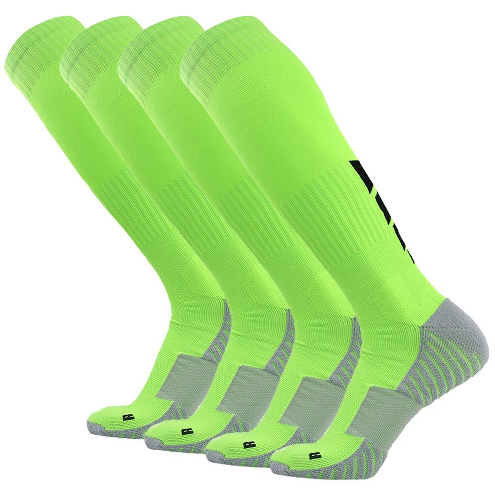 サッカーソックス、3streetユニセックスアスレチック圧縮ソックス1 / 2 / 3 / 4 / 6 / 10ペア B01EA7T5HW M(Fit For US 8-12)|4-Pairs green 4-Pairs green M(Fit For US 8-12)