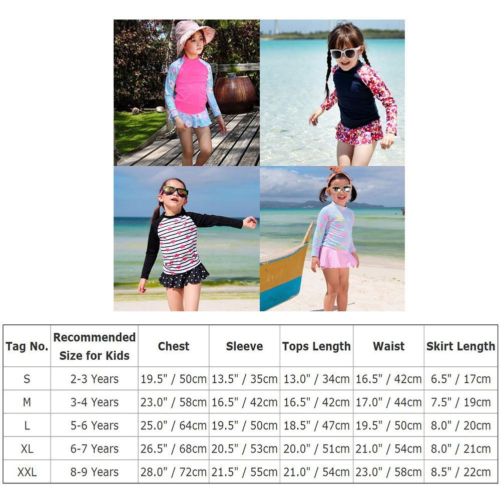 OBEEII Little Girl Long Sleeve Rash Guard Bikini Swimsuit Set Sunsuit for Toddler Kid