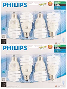 Philips 823031 CFL Light Bulb 13W T2 Twister Daylight 6500K, 60 Watt Equivalent; 8-Pack