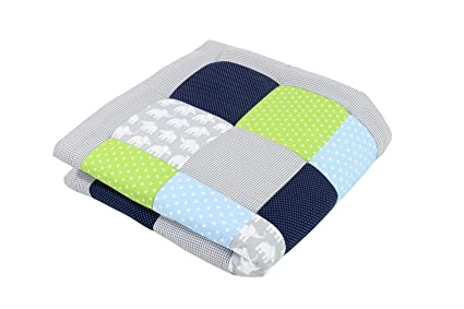 Tappeti Per Bambini Lavabili : Tappeto per neonato ullenboom elefanti blu verde cm