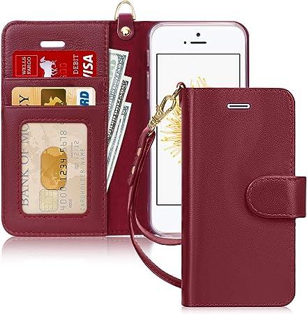 FYY Cover iPhone Se, Cover iPhone 5S, Cover iPhone 5, Flip Custodia Portafoglio Libro Vera Pelle con Porta Carte e Chiusura Magnetica per iPhone Se / ...