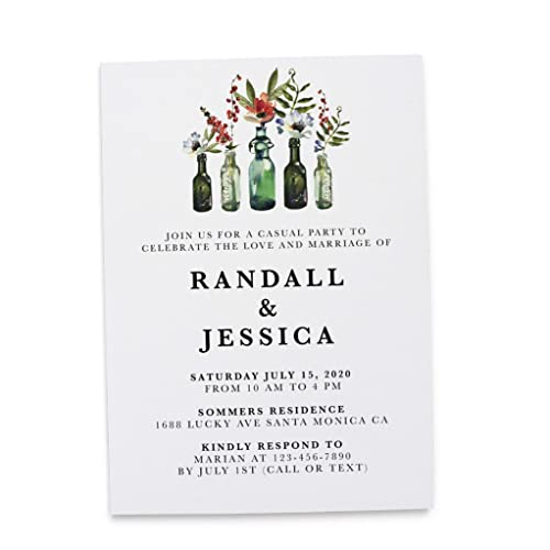 Casual Wedding Reception Invitation Cards by LoveAtEverySight- Marriage Reception Card, Amazing Invitation Set, Invitation& Invite, Rustic Bottle Theme Set ...