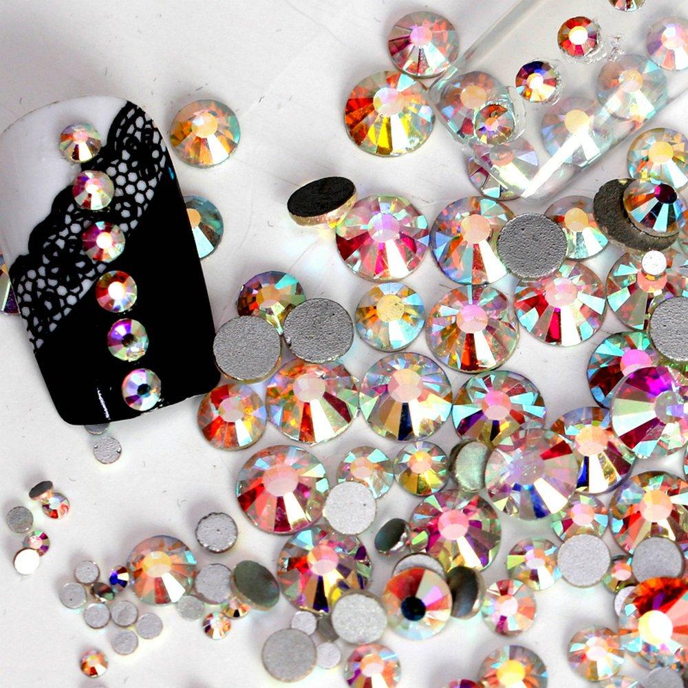 QIMEIYA New Nail Art Rhinestone Ab White Crystal 1440pcs/bag Glue on Non Hotfix Flatback Rhinestone Decorations for Nails(SS8)