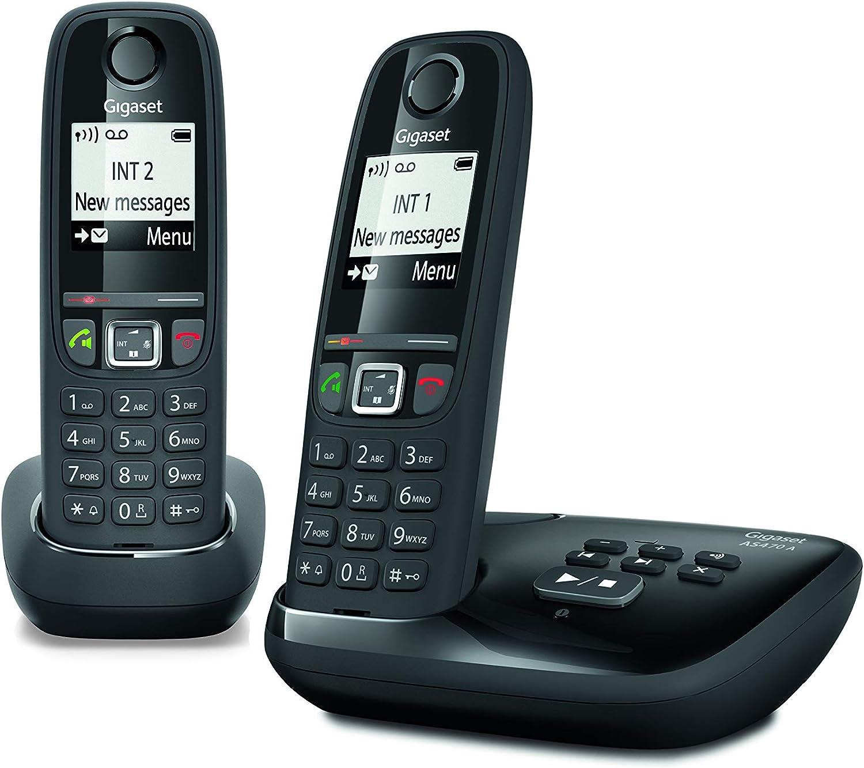 Gigaset AS470A Duo - Teléfono (Teléfono DECT, Terminal inalámbrico, Altavoz, 100 entradas, Identificador de Llamadas, Negro): Amazon.es: Electrónica