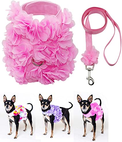 """9/"""" XS Small 6/"""" New Dog Puppy Toy Mini Adjustable Collar Floral Pink Yellow"""