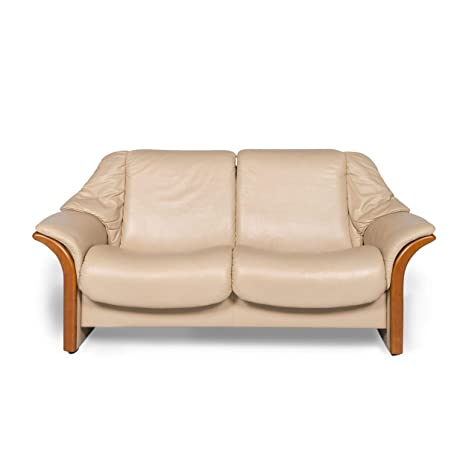 Stressless Designer Leather Sofa Beige Two Seater Couch ...